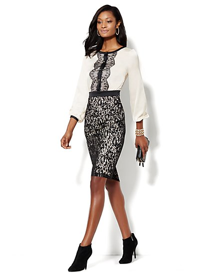 Black & White Lace-Overlay Dress  - New York & Company