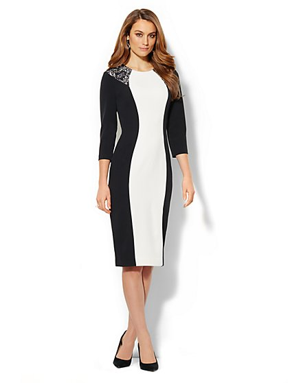 Black & White Lace-Trim Colorblock Dress  - New York & Company