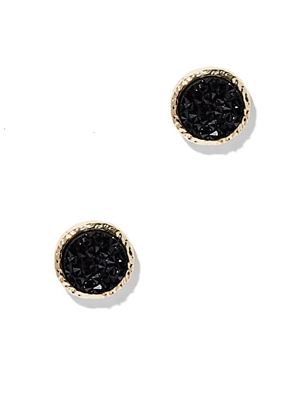 Black and Goldtone Druzy Earring - New York & Company