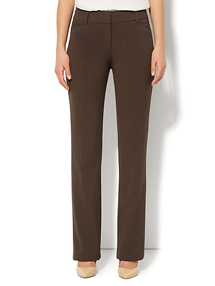 Bleecker Street Straight Leg Pant - Brown  Heather - Petite - New York & Company
