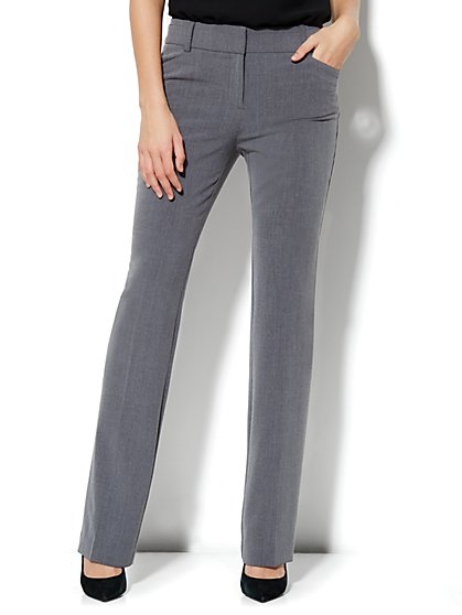 Bleecker Street Straight Leg Pant - Ellington Heather Grey - Petite - New York & Company