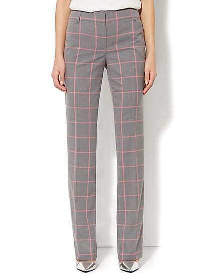 Bleecker Street Straight Leg Pant - Petite - Brooke Plaid   - New York & Company