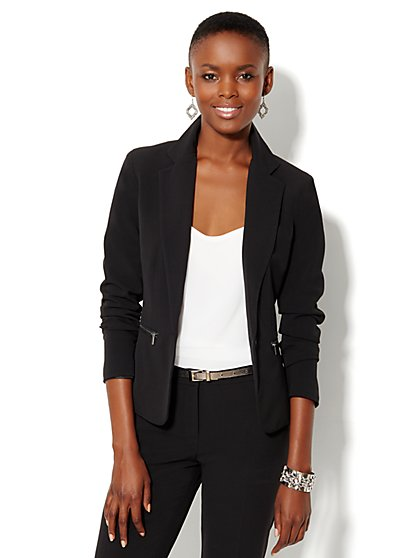 Bleecker Street Zip-Pocket Jacket  - Black - New York & Company