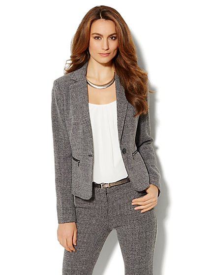 Bleecker Street Zip-Pocket Jacket - Heritage Tweed - New York & Company