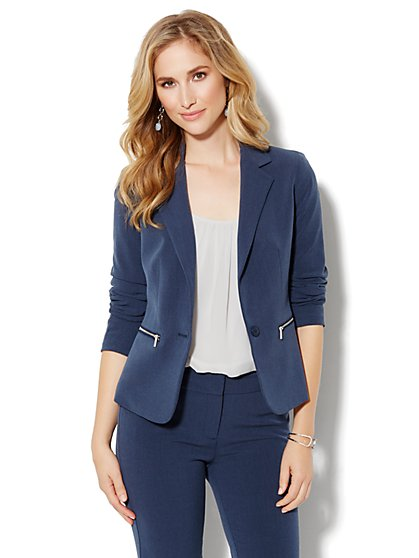Bleecker Street Zip-Pocket Jacket  - York Blue Heather - New York & Company
