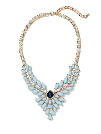 Blue Faux-Stone Bib Necklace  - New York & Company
