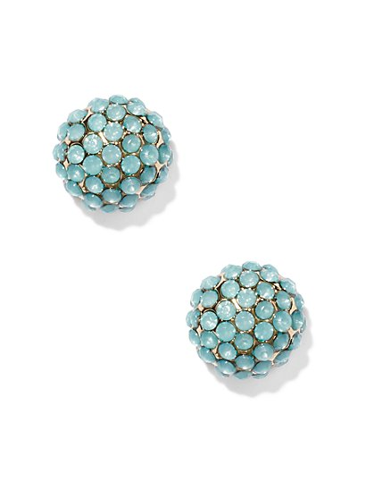 Blue Faux-Stone Post Earring  - New York & Company