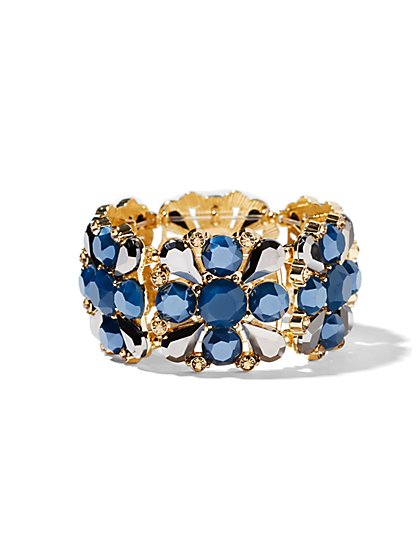 Blue Faux-Stone Stretch Bracelet  - New York & Company