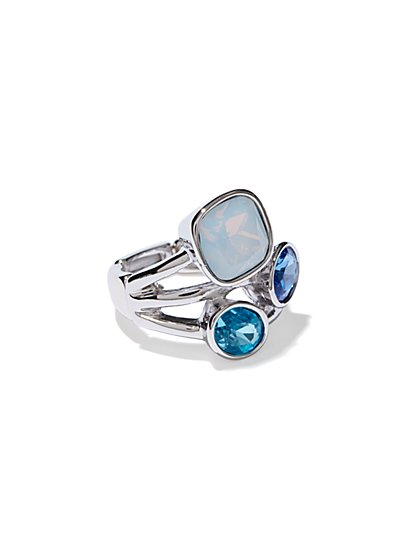 Blue Faux-Stones Stretch Ring