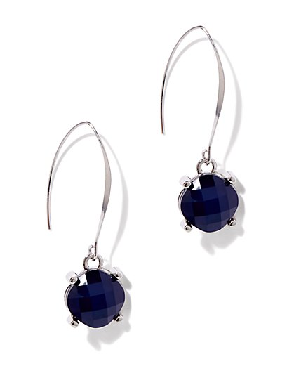 Blue Geo Drop Earring