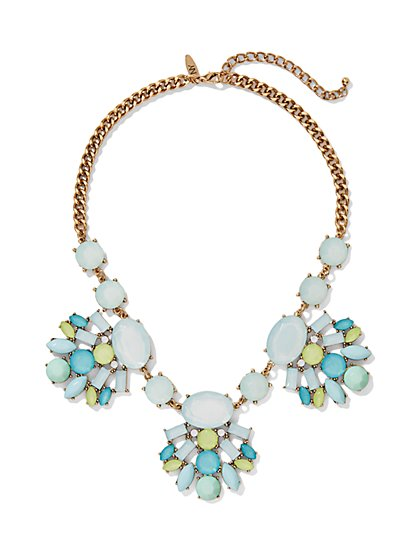 Blue & Green Beaded Cluster Necklace  - New York & Company