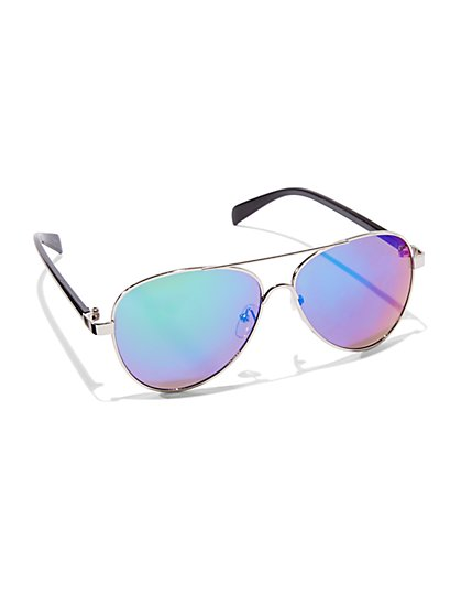 Blue-Lens Aviator Sunglasses  - New York & Company