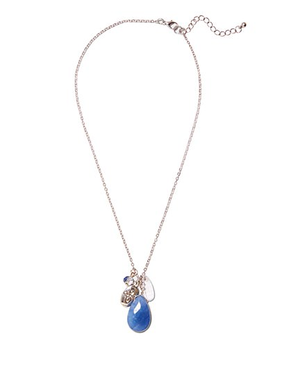 Blue Semi-Precious Stone Pendant Necklace  - New York & Company