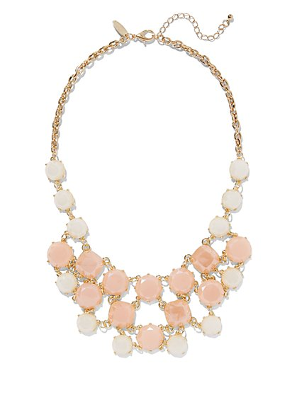 Blush Faux-Stone Bib Necklace  - New York & Company
