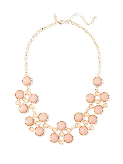Blush-Hued Faux-Stone Bib Necklace  - New York & Company