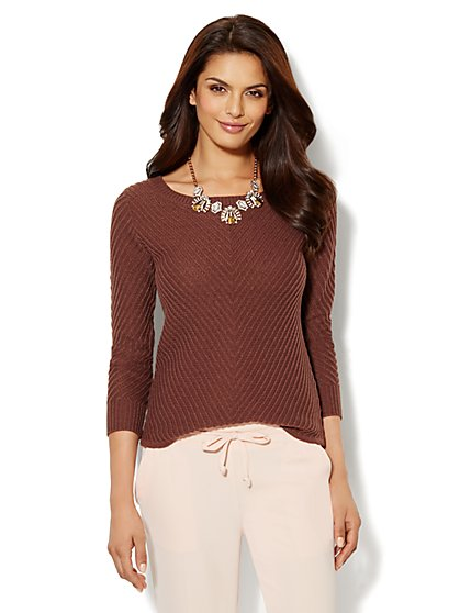Boat-Neck Ribbed Sweater - New York & Company
