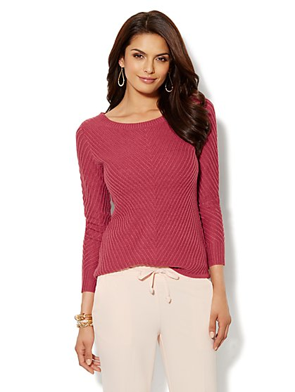 Boat-Neck Ribbed Sweater - New York & Company