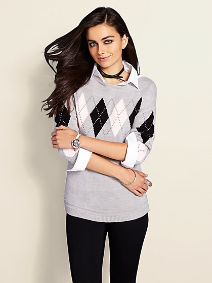 Boatneck Sweater - Argyle - New York & Company