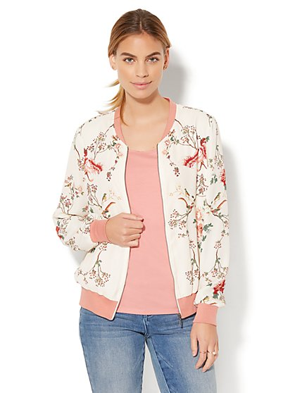 Bomber Jacket - Floral & Bird Print - New York & Company