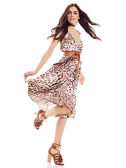 Border Print Sharkbite Dress - Leopard Print  - New York & Company