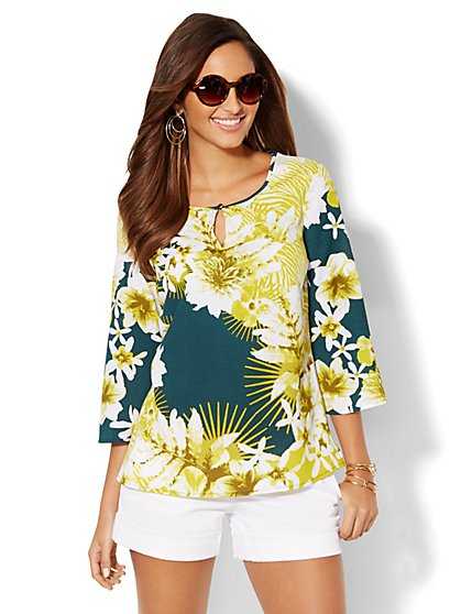 Botanical Bell-Sleeve Blouse   - New York & Company