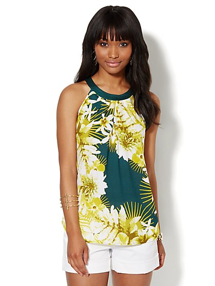 Botanical-Print Halter Top  - New York & Company