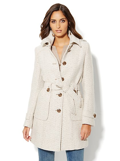 Boucle Hooded Coat - New York & Company