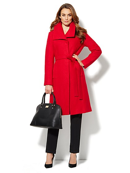 Boucle Shawl-Collar Wool-Blend Coat  - New York & Company