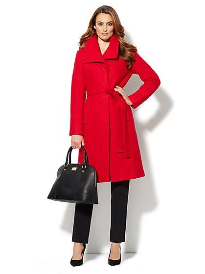 Boucle Shawl-Collar Wool-Blend Coat  - New York & Company