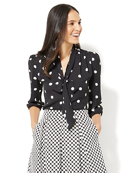 Bow-Accent Blouse - Polka-Dot Print - New York & Company