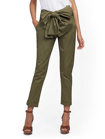 Bow-Accent High-Waisted Slim Pant - New York & Company