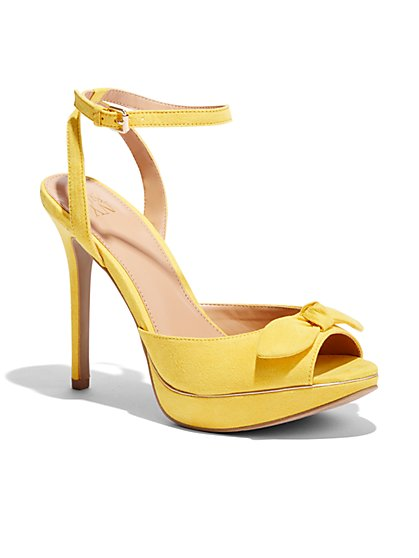 Bow-Accent Stiletto Ankle-Strap Sandal  - New York & Company