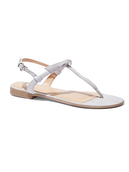 Bow-Accent T-Strap Sandal  - New York & Company