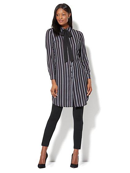 Bow-Accent Tunic Shirt - Stripe - New York & Company