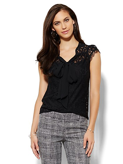 Bow-Front Lace Blouse - Petite  - New York & Company