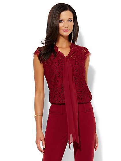 Bow-Front Lace Blouse - New York & Company