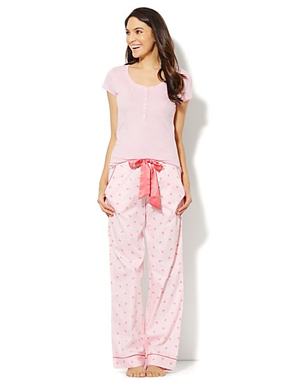 Bow-Print Cotton Pajama Set  - New York & Company