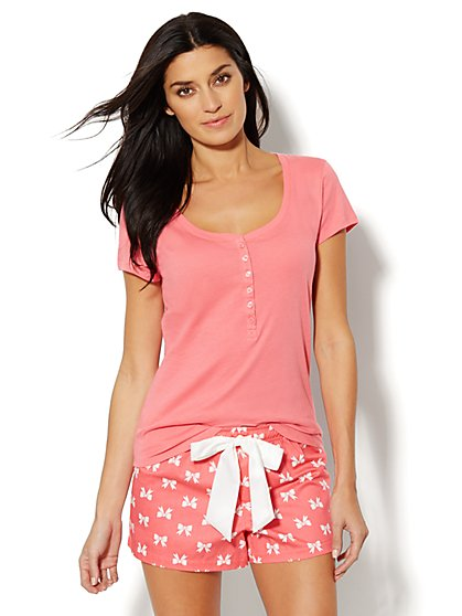 Bow-Print Cotton Pajama Shorts Set  - New York & Company