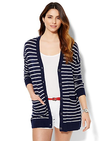 Boyfriend Cardigan - Stripe  - New York & Company