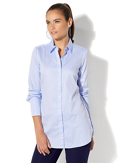 Boyfriend Poplin Shirt - Stripe - New York & Company