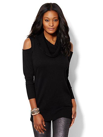 Braid-Trim Cold-Shoulder Sweater  - New York & Company