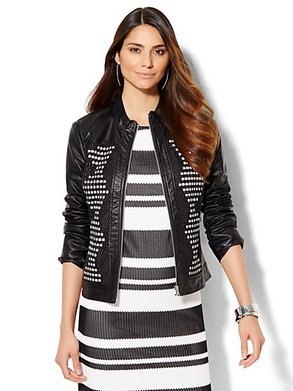 Braided Faux-Leather Jacket - Black  - New York & Company