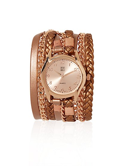 Braided Leather and Chain-Link Watch  - New York & Company