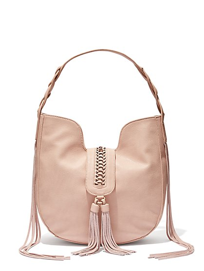Braided Tassel Hobo Bag  - New York & Company