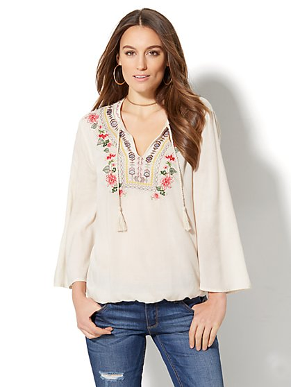 Braided-Trim & Embroidered Peasant Blouse - New York & Company