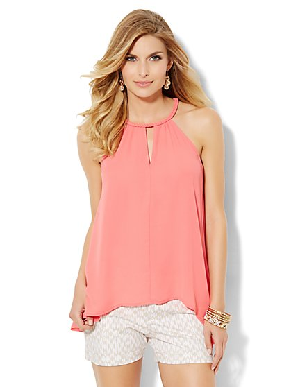 Braided-Trim Halter Top  - New York & Company