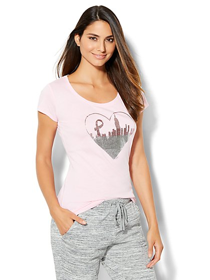 Breast Cancer Awareness Heart Skyline & Ribbon Graphic Logo Tee  - New York & Company