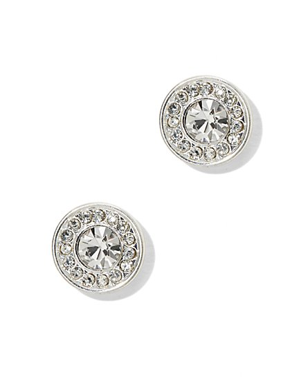 Brilliant Pave Circle Stud Earrings - New York & Company