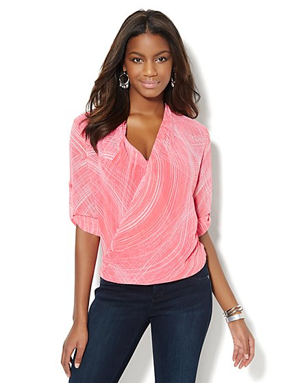 Brushstroke Chiffon Faux-Wrap Blouse  - New York & Company