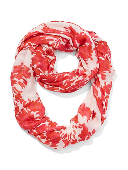 Brushstroke-Floral Infinity Scarf - New York & Company